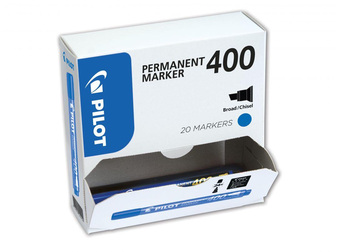 Permanent Marker 400 - Μαρκαδόρος - [XXLPACK] - ΜΠΛΕ - Ευρύ Άκρο