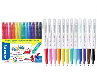 FriXion χρωματιστά - σειρά απο12 - Ποικιλία Χρωμάτων - Μεσαίο Άκρο
